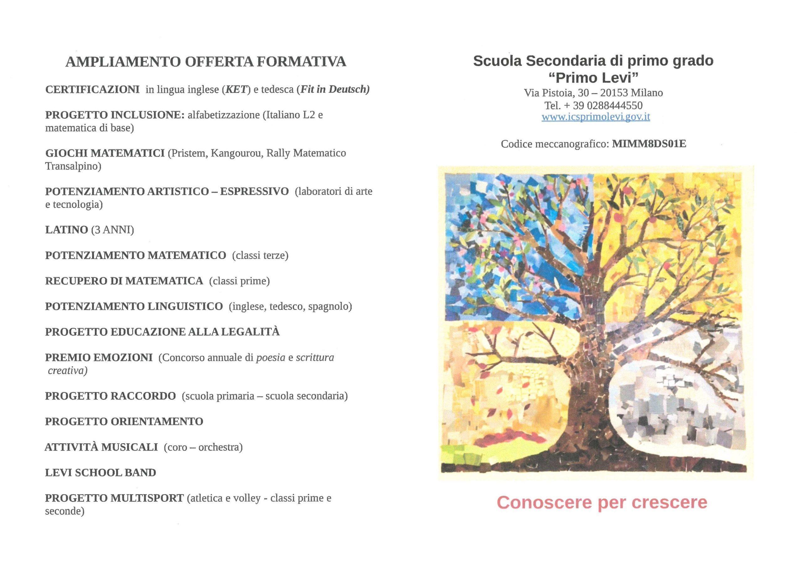 ICS Primo Levi | Immagine: Volantino fronte scaled