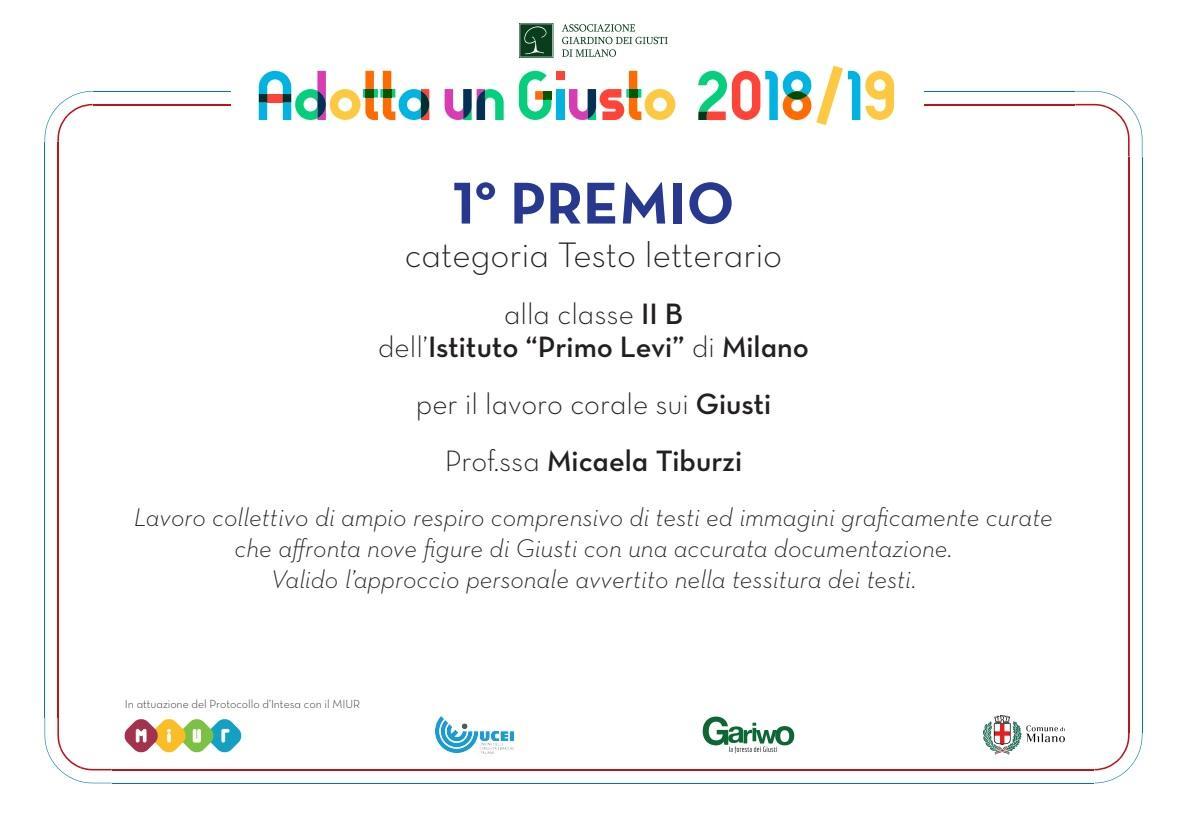 ICS Primo Levi | Immagine: Attestato Primo Premio Testo Letterario 2B Adotta un Giusto 2018 19