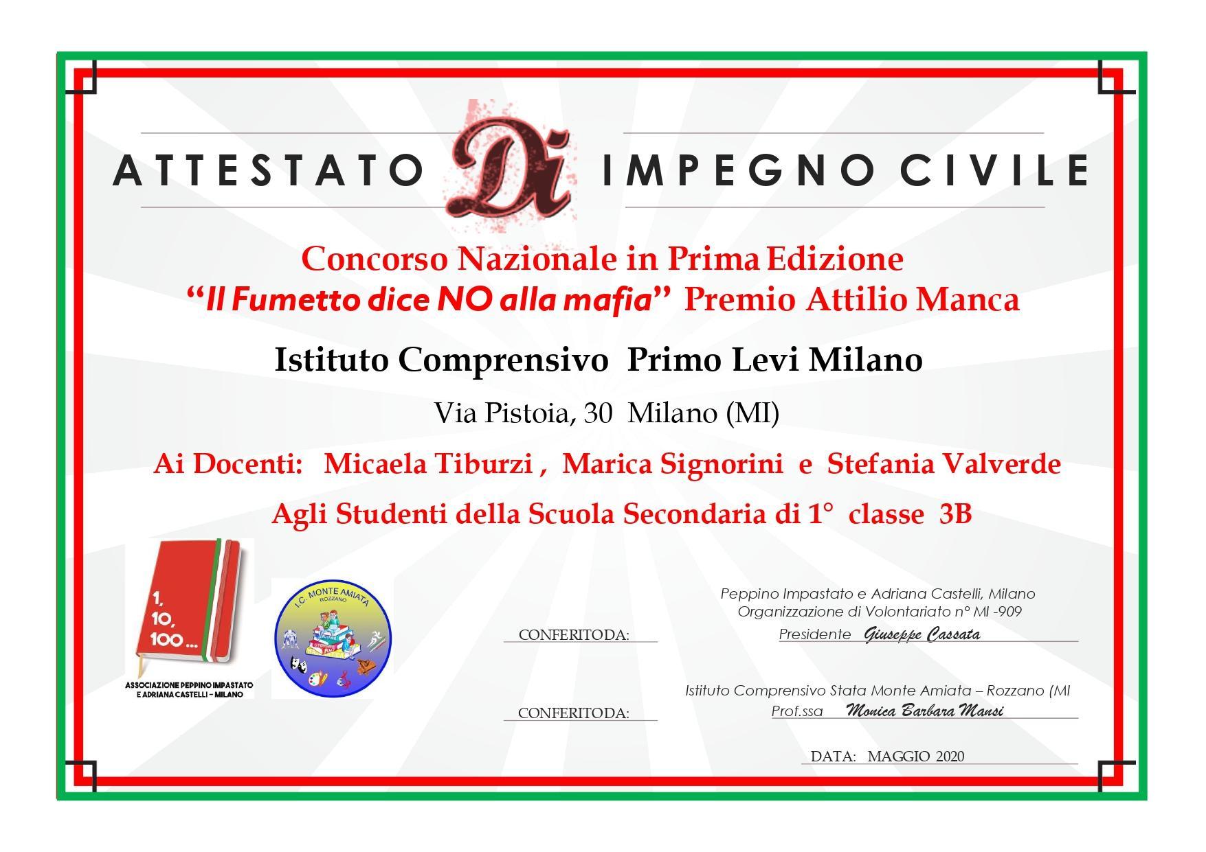 ICS Primo Levi | Immagine: Attestato partecipazione STOP ALLA MAFIA Istituto Comprensivo Primo Levi Milano page 0001